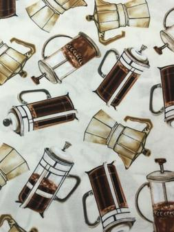 100% Cotton Coffee French Press fabric By BENARTEX