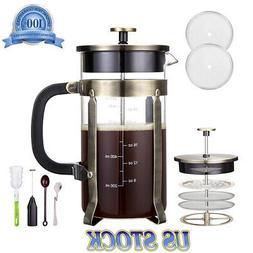 1000ML French Press Coffee Tea Maker 34 oz 8 cups Double Sid