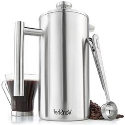 VonShef Satin Brushed Stainless Steel French Press Double Wa