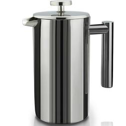 1L French Press Coffee Maker Double Walled Stainless Steel R