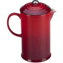 Le Creuset 27 oz French Press Ceramic Coffee Maker Red New i