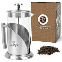 32OZ Stainless Steel Glass French Press Pot Filter Cafetiere