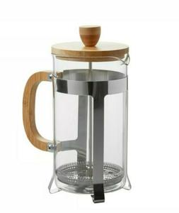 Choice 33 oz. Glass / Bamboo Wood French Press Coffee/Tea Ma