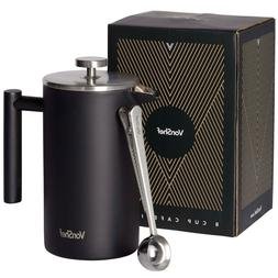 VonShef 34oz 8 Cup Stainless Steel French Press Cafetiere &