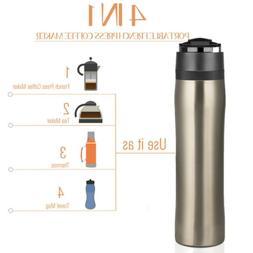 350ml Stainless Steel Travel French Press Coffee Tea Mug Dou