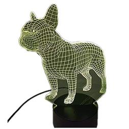 3dlamp 3D French Bulldog Night Light Table Desk Optical Illu