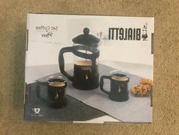 BIALETTI 6 Cup French Coffee Press  Black - 3 Piece Set - NE