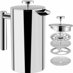 8 Cup French Press Double Wall Stainless Steel Cafetiere Cof