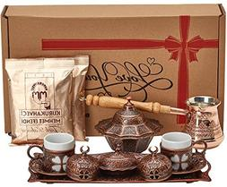 BOSPHORUS 16 Pieces Turkish Greek Arabic Coffee Making Servi
