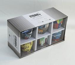 """Bialetti: Set of 6 """"Tazzine Arte"""" Coffee Cups with Saucers,"""