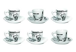 "Bialetti: Set of 6 ""Tazzine Carosello"" Coffee Cups with Sauc"