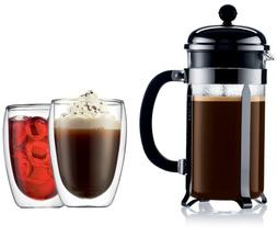 Bodum Chambord 8-Cup Press with Bonus Pavina Thermal Glasses