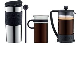 Bodum - Coffee Set - Coffee Press, Travel Mug, Glass Mug, Sp