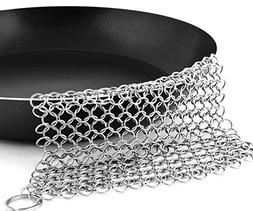 Cast Iron Cleaner 7 inches Stainless Steel Chainmail Scrubbe
