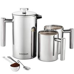 French Press Coffee Maker Set -  18/8 Stainless Steel Double