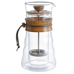 Hario Double Glass Coffee Press, 400ml, Olivewood