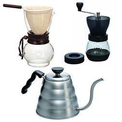 Hario Kettle, Drip Pot Woodneck and Coffee Mill - 3 Products