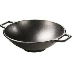 Lodge 14 Inch Cast Iron Wok. Pre-Seasoned Wok with Flattened