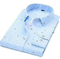 Papijam Men's Lapel Long Sleeve French Cuff Non-Iron Slim Sh