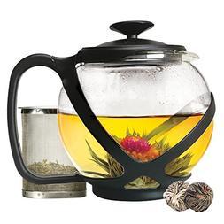 Primula Tempo Glass Teapot with 2 Flowering Teas, 40 oz, Bla