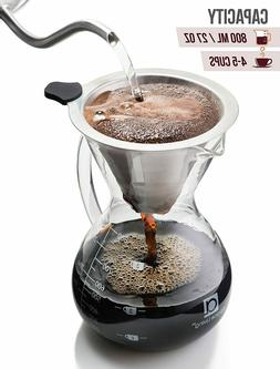 Apace Living Pour Over Coffee Maker Set w/Coffee Scoop and C