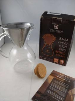 Apace Living Pour Over Coffee Maker Set w/Cork 34oz. No Scoo
