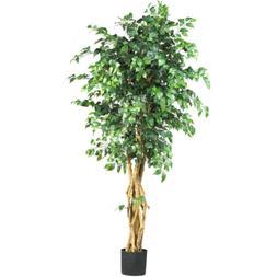 Artificial 6 ft. Multi-Trunk Silk Ficus Tree Accent Piece Ho