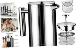 BAYKA French Press Coffee Maker, Stainless Steel 21oz Double