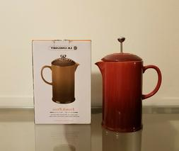Le Creuset Cafe 27 Ounce French Press Coffee Maker / Burgund