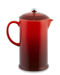 Le Creuset Café Stoneware French Press, Red, 27oz, New