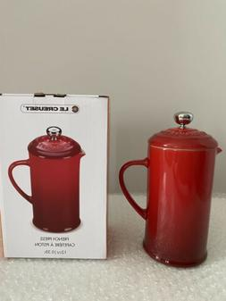 Le Creuset Cerise Red French Press Coffee Pot Stoneware 12oz