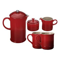 Le Creuset Cherry Stoneware 5 Piece Coffee Service Set with