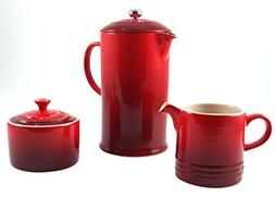 Le Creuset Cherry Stoneware French Press Coffee Maker With M