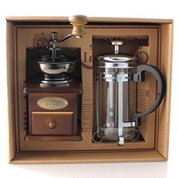 DELISI Classic Vintage Wooden Manual Coffee Grinder & Silver