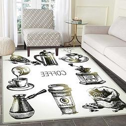 Coffee Area Rug Carpet Brewing Equipment Doodle Sketch Grind