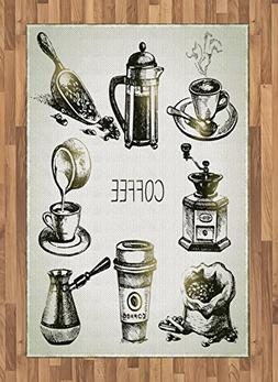 Ambesonne Coffee Area Rug, Brewing Equipment Doodle Sketch G