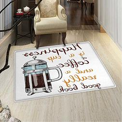 Coffee Small Rug Carpet French Press Hot Aromatic Beverage H