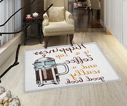 Coffee Door Mat Small Rug French Press with Hot Aromatic Bev