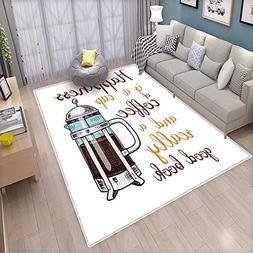 Coffee Bath Mat 3D Digital Printing Mat French Press with Ho