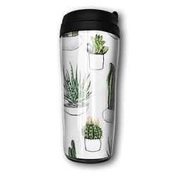 Travel Coffee Mug Natural Succulent Plants Cactus Tea Cup Fo