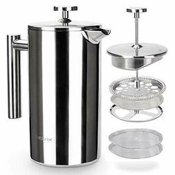 Secura Coffee Press Maker, Stainless Steel with 2 Extra Scre