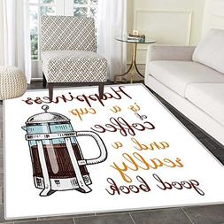 Coffee Print Area rug French Press with Hot Aromatic Beverag