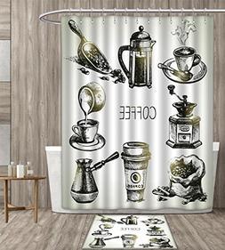 homefeel Coffee Shower Curtain Mildew Resistant Brewing Equi