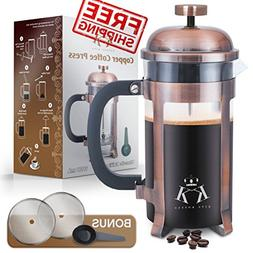 Copper French Press Coffee Maker Stainless Steel Cafetiere b