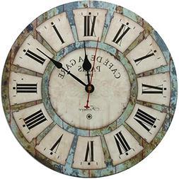 RELIAN Decorative Wall Clock 12-Inch Vintage Rustic Silent N