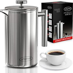 double wall 1l french stainless steel coffee
