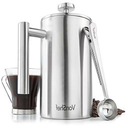 VonShef Double Wall French Press Satin Polished Stainless St