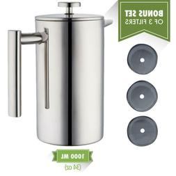 Double Wall Tea Coffee Brewer Maker French Press Stainless S
