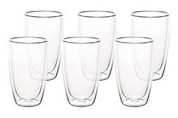 Nellam Double Walled Glass Mugs - Set of 6, 16oz Thermo Insu