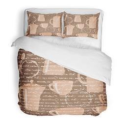 SanChic Duvet Cover Set Brown Abstract Coffee Types Text Blo